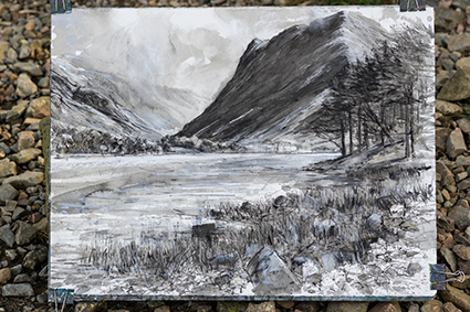 The finished expressive mixed media drawing created along the shores of Buttermere, Borrowdale in The Lake District